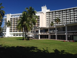The Naniloa Hotel's ocean-front exterior. Photo by Nate Gaddis.