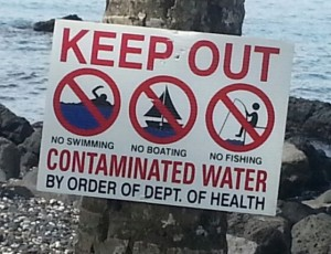 Signs similar to the above were placed at the shoreline near the Papaikou Wastewater Treatment Plant. File photo.