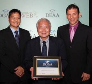 Shown with the award for the EMRS are, from left, Randy Baldemor,Hawaii's deputy chief information officer; Alvin Onaka, state registrar for the Department of Health; and Russell Castagnaro, president of the  Hawaii Information Consortium, which assisted in creating EMRS and manages the state's portal website.