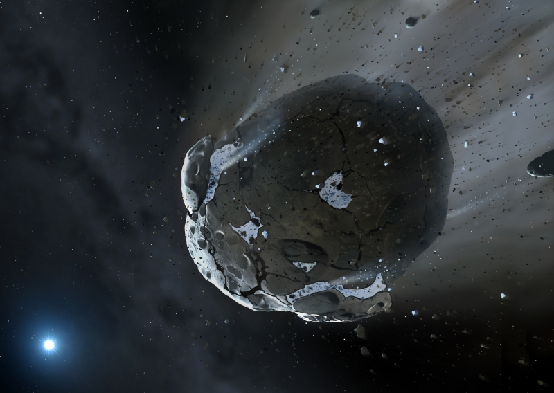 Building Blocks for Earth-Like Planets Found Around Dying Star