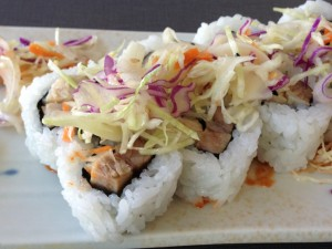 Asian-inspired pork belly, in a sushi roll, at Hilo Bay Café. Photo by Nate Gaddis.