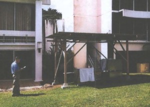 After a problem was found with a cooking range hood, the Naniloa began cooking outdoors in this structure -- which the county found was using unpermitted and nonconforming plumbing and electrical connections. USBC filing.