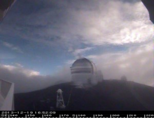 Despite a winter weather warning, the summit of Mauna Kea was mostly snow-free as this webcam image taken shortly before 5 p.m. shows.