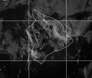 This satellite photo, taken at 4:45 p.m., shows the uplift in the towering clouds producing the thunderstorms. NOAA image.