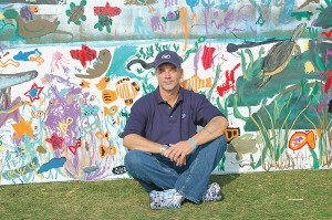 """Marine artist """"Wyland"""", famous for his building-length paintings of marine mammals."""