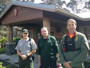 Rescued hiker Alex Sverdlov (middle) stands with his rescuers, park rangers John Broward (right) and Tyler Paul (left) outside the park's Visitor Emergency Operations Center today. NPS/J.Ferracane photo.