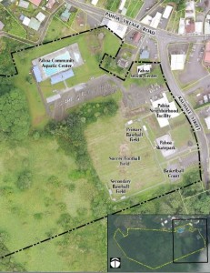 This map from the master plan shows the Pahoa park's existing facilities (click to enlarge).