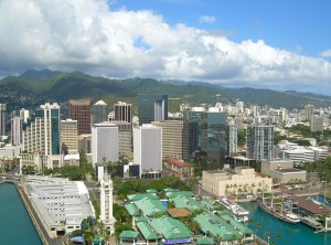 Honolulu coastline. Public domain image.