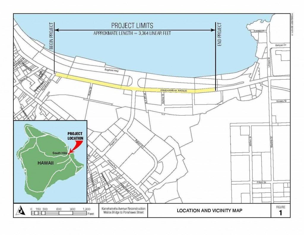 This map provided by the county Department of Public Works shows the boundaries of the Kamehameha Avenue Renovation project (click to enlarge).