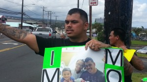 "Chauncey Prudencio, fiance of Stover patient Kristen ""Stenn"" Tavares, organized today's protest. Photo by Dave Smith."