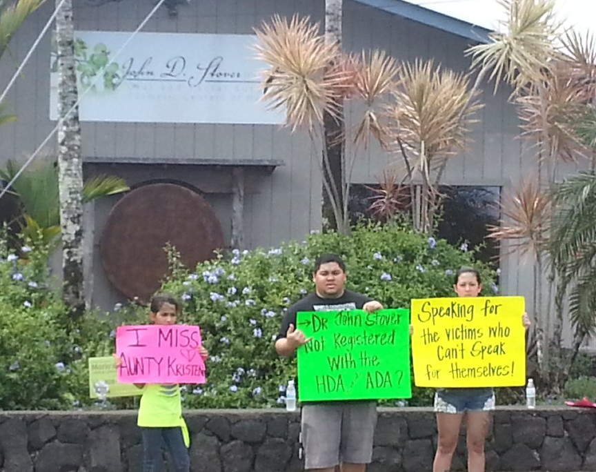 Protesters Target Office of Hilo Dentist