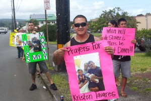 One of the protestors today in front of Dr. John Stover's office. Photo by Dave Smith.