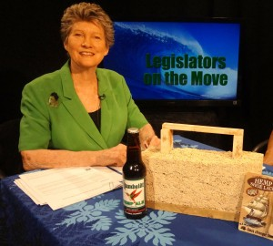 State Rep. Cynthia Thielen shows some products made from hemp. However, the bill passed today focuses on hemp's use for biofuel and phytoremediation, and does not mention its already common usage for fiber. Courtesy photo.