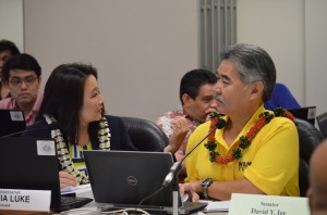Budget conference committee co-chairs Rep. Sylvia Luke, left, and Sen. David Ige, right, during Friday's deliberations on the state's spending plan for the next fiscal year. Senate photo.