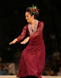 Ke'alohilani Tara Eliga Serrao during Thursday night's `auana competition. Photo courtesy Merrie Monarch Festival/Extreme Exposure.