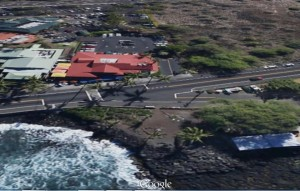 This section of Ali`i Drive and Kahakai Road is within the Kailua Village Business Improvement District. Google Earth image.