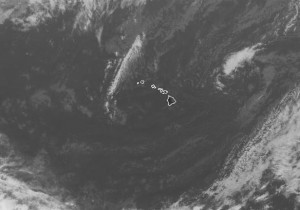 A high-pressure system northeast of the island (upper right corner) is driving gusty trades and prompting a wind advisory for Hawaii. NOAA/NWS image.