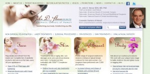 A screenshot of the website for Dr. John Stover's Cosmetic Centers of Hawaii.