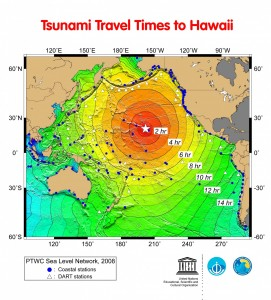 The times it takes for a tsunami generated at various locations around the Pacific are shown.