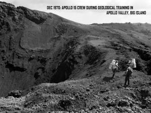 "Apollo 15 team members train on a Big Island lava flow dubbed ""Apollo Valley"" in December 1970. NASA photo."