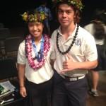 Tiana Iwata and Kalae Trask-Sharpe (l-r) were named Male and Female Scholar-Athletes of the Year at Kamehameha-Hawai`i. KSH photo.