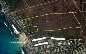 The county is looking acquire the parcel across from the Kona beach known as Disappearing Sands. Source: 2013 report of the Hawaii County Open Space, Public Acquisitions, and Natural Resources Preservation Commission.