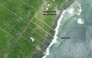 The parcel next to Ahalanui Park to be acquired Resolution 419 is outlined in yellow (click to enlarge). Source: 2013 report of the Hawaii County Open Space, Public Acquisitions, and Natural Resources Preservation Commission.