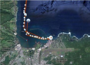 The voyage can be tracked via Google Maps through a link on the Hokule`a's website.