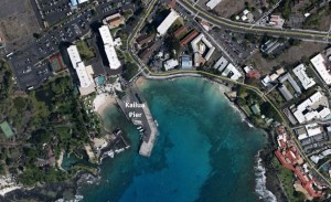 Kailua-Kona's pier is shown in this Google Earth image.