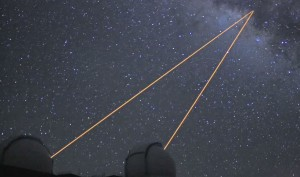 The twin Keck telescopes' laser pointers aimed at our galaxy's center. Screenshot video image courtesy of Dan Birchall/UCLA Galactic Center Group.