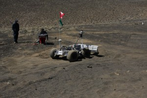 A rover used to create landing sites is tested on the slopes of Mauna Kea. NASA/Amber Philman photo.
