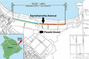 The blue line shows the portion of Kamehameha Avenue already closed for construction; the red line shows the additional portion to be closed beginning Thursday (click to enlarge).