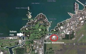 The location of the Suisan warehouse and fish market is shown on this Google Earth image (click to enlarge).