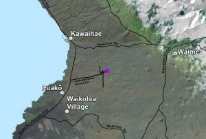 The location of the Lalamilo Wind Farm is shown in purple in this map from the draft environmental assessment for the Lalamilo Wind Farm Repowering Project.