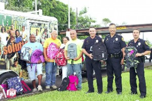 Some of the backpacks collected during last year's drive are shown. HPD photo.