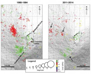 These earthquake maps (click to enlarge) of Mauna Loa show the location, strength and depths (see legend). Theone on the left shows earthquake locations from Jan. 1, 1980 to March 25, 1984. On the right are earthquake locations from Jan. 1, 2011 to July 12, 2014.  Black arrows are the locations of earthquake swarms that have been recorded in the past 13 months. USGS/HVO graphic.