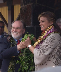 Gov. Neil Abercrombie and Kulani Warden Ruth Forbes untying the maile lei during today's ceremony. DPS photo.