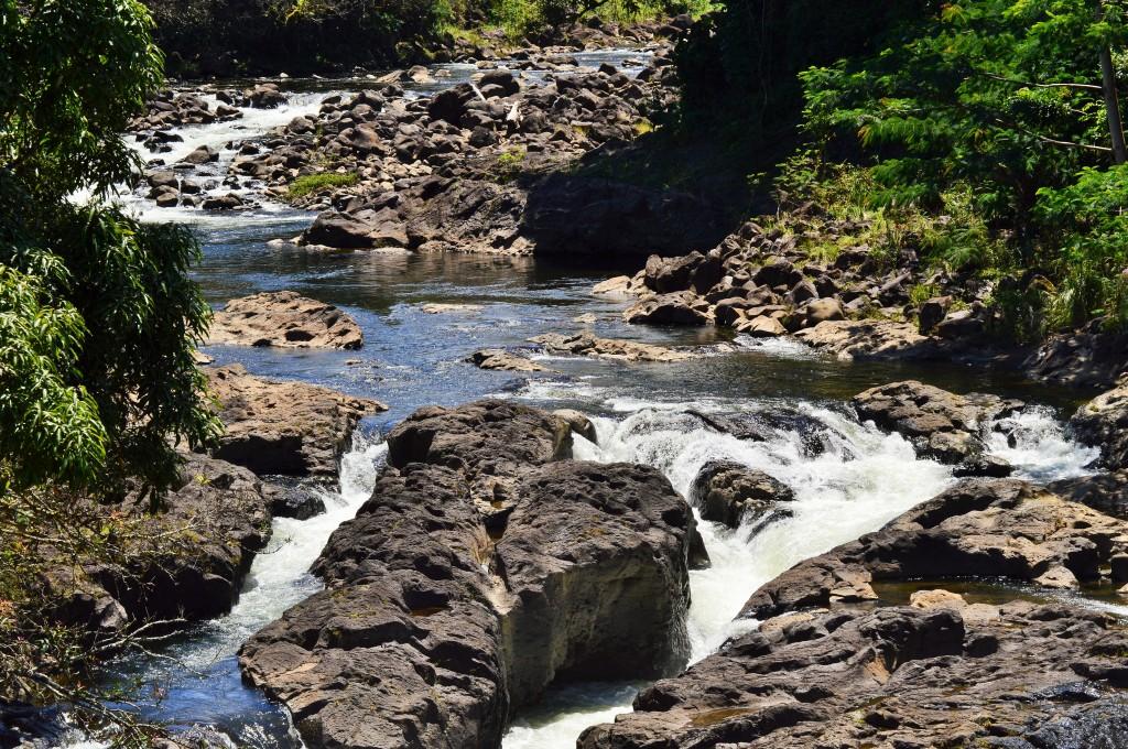 Wailuku River runs calmly a day before Hurricane Iselle. Photo by Nate Gaddis.