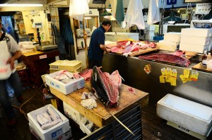 Tsukiji Fish Market, Tokyo - the primary supplier for Takenoko Sushi in Hilo. Public domain image.