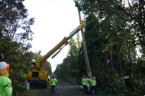 Crews work to restore power to the remaining estimated 6,800 customers. Photo courtesy HELCO.