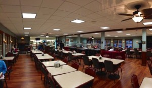 Classic and clean, the KMC dining room is spartan, but cozy. Photo by Nate Gaddis.