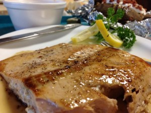 KMC's cajun-style salmon was perfectly cooked on both outings. Photo by Nate Gaddis.
