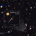 This image shows observations of the GOODS-N-774 galaxy core. Image courtesy NASA.