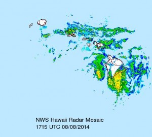 Tropical Storm Iselle, as seen via NOAA weather radar on August 8, 2014. NOAA image.