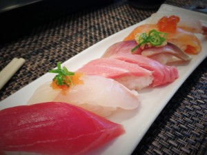 """Part of the """"Chef's Choice"""" sushi special ($40). From left: Maguro, Flounder, Toro, Mackerel, Salmon, and Ebi. Photo by M's photography."""