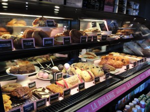 """Coffee """"mates."""" Starbucks line of """"La Boulange"""" pastries now fill store display cases. Photo by Nate Gaddis."""