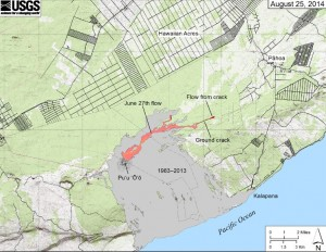 This image shows the June 27 lava flow advancing toward the Wao Kele O Puna Forest Reserve boundary. USGS Image.
