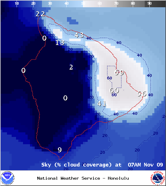 Expected chance of cloud cover at 7am - Image: NOAA / NWS