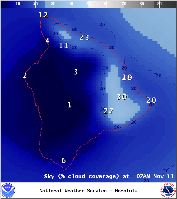 Expected cloud cover at 7am - Image: NOAA / NWS