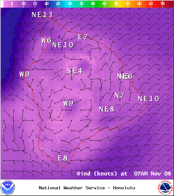 Expected wind conditions at 7am - Image: NOAA / NWS
